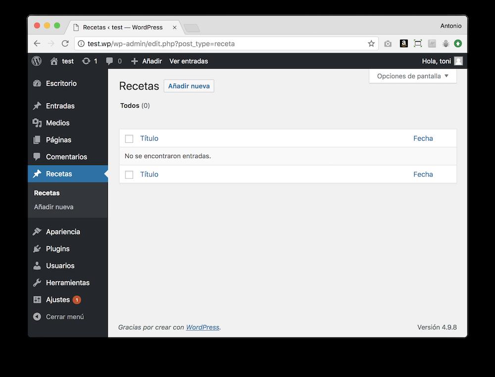 WordPress te permite crear tipos de contenido personalizado. Por ejemplo, para crear recetas.