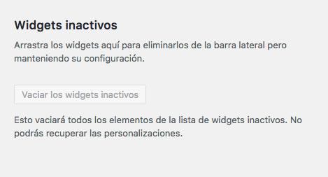Widgets inactivos