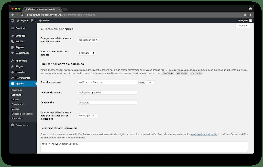 En los ajustes de escritura del Escritorio de WordPress puedes configurar aspectos sobre tus contenidos.