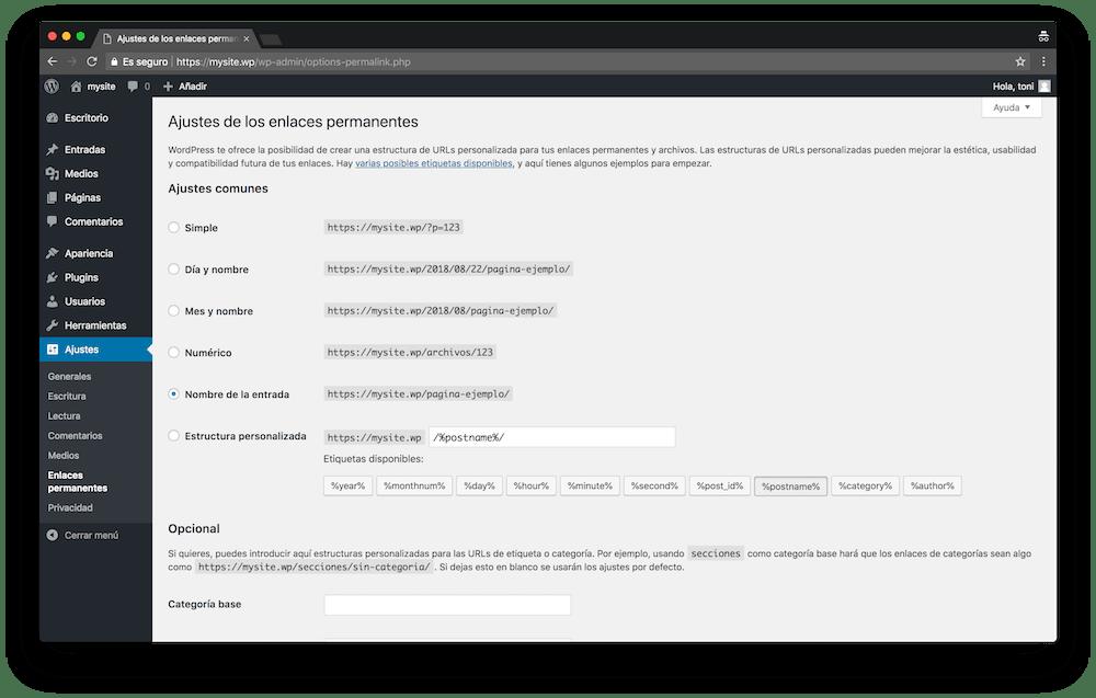 Para cambiar los ajustes de los enlaces permanentes en tu WordPress ve al menú Ajustes » Enlaces permanentes.