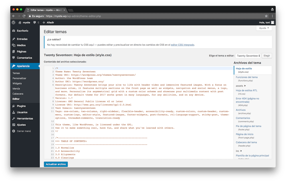 El editor de WordPress te permite hacer cambios en tus temas directamente desde WordPress.