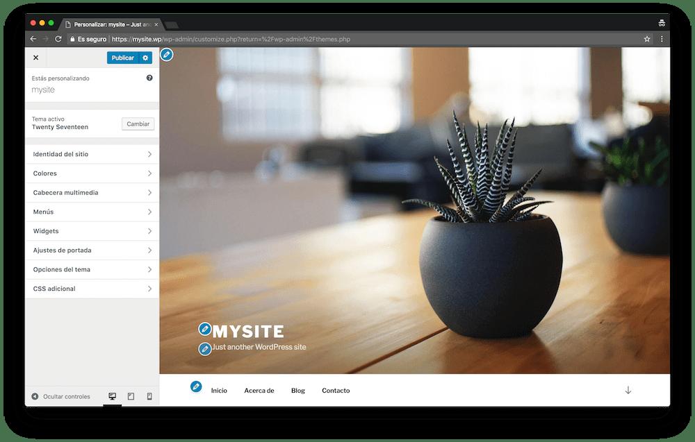 El personalizador de WordPress es una herramienta que te permite hacer cambios en el diseño de tu web y ver cómo quedará al momento.