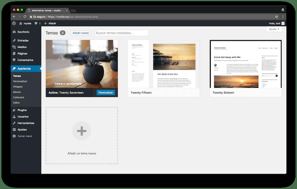 En el menú Apariencia de WordPress es donde cambias los aspectos del diseño de tu web.