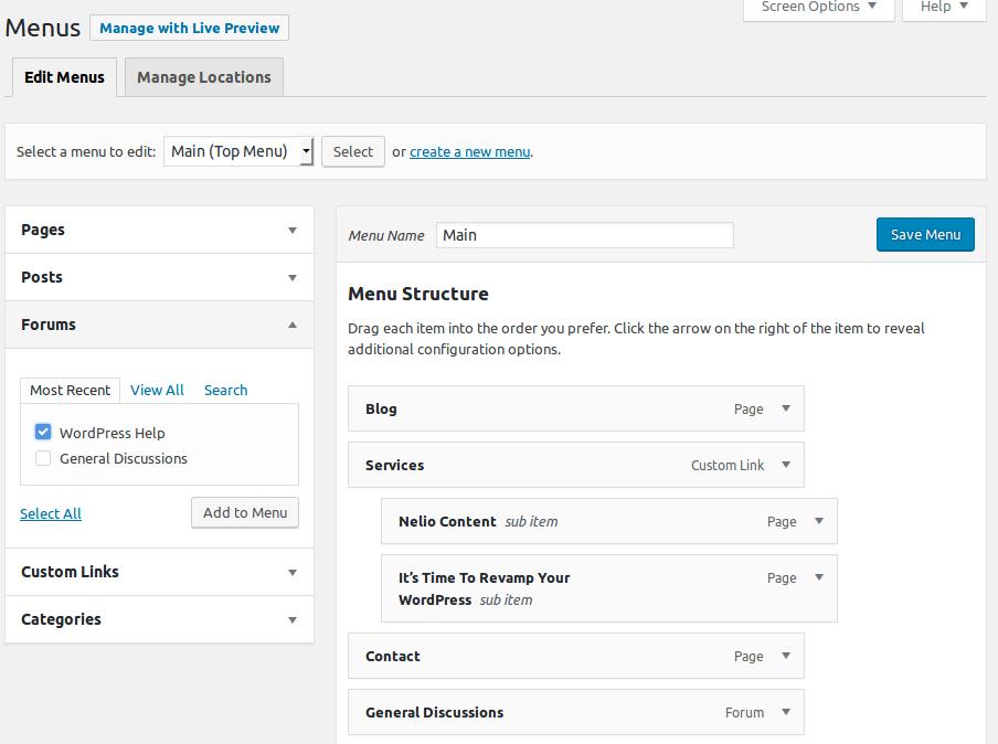 Añadiendo los foros en el menú de navegación de WordPress