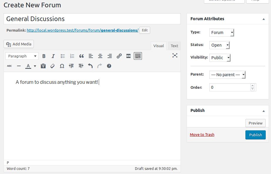 Formulario para la creación de un nuevo foro en bbPress