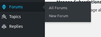 Opción para crear un nuevo foro en el menú de WordPress