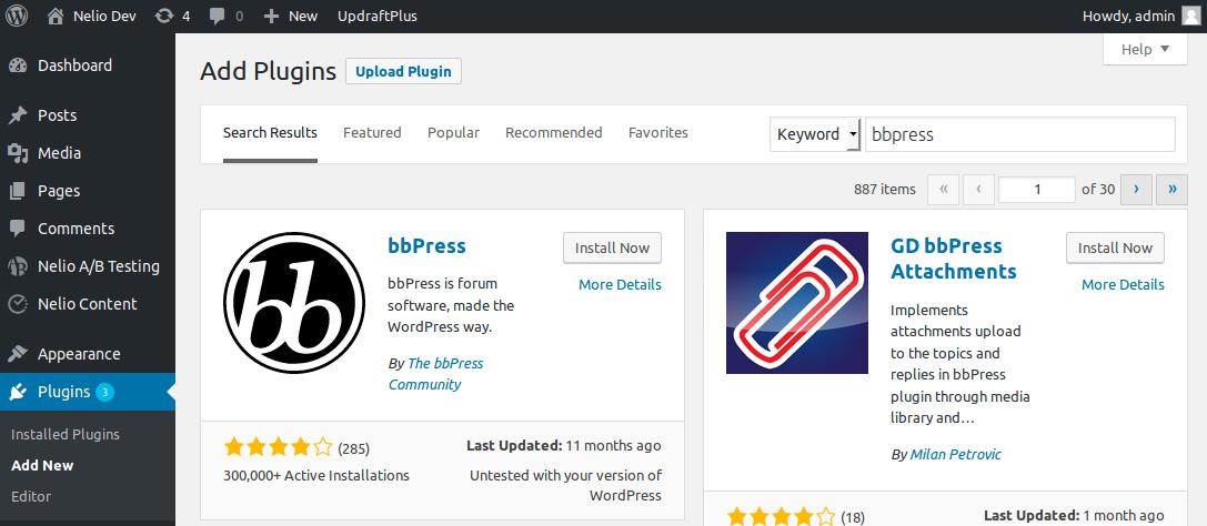 Resultados de la búsqueda de bbPress en el escritorio de WordPress