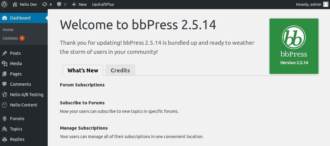 Página de bienvenida de bbPress
