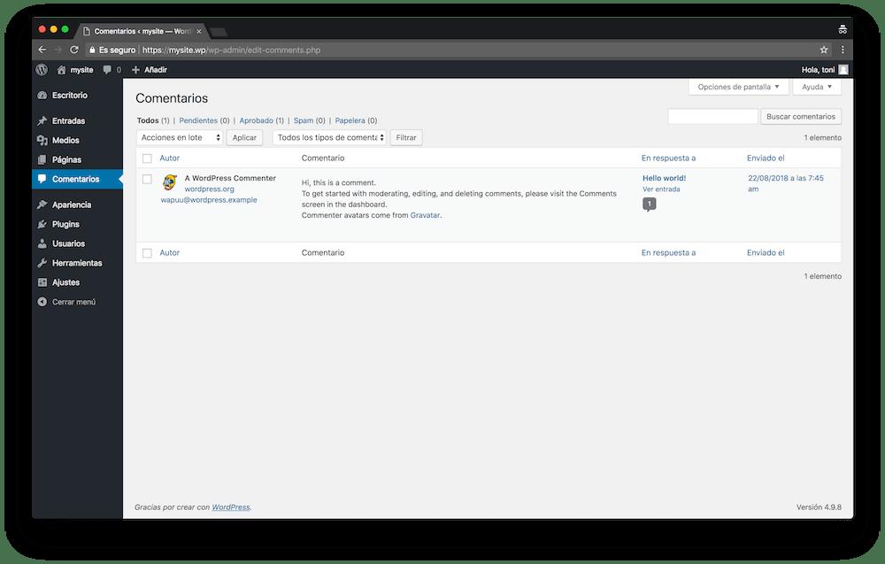 En el menú de Comentarios de WordPress gestionas todos los comentarios de tu web.