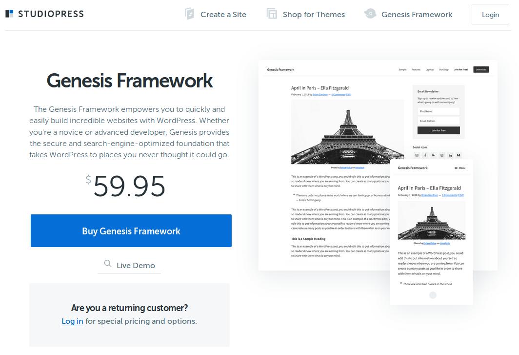 Captura de pantalla de la web de Genesis Framework