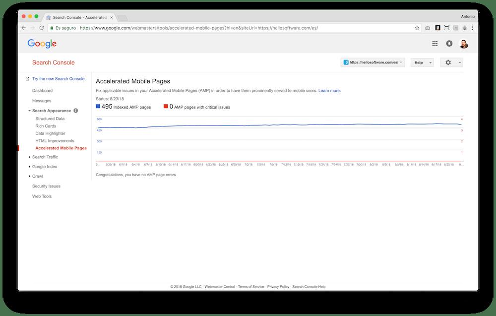 Google Search Console te muestra cuántas páginas en tu web son compatibles con AMP y si hay errores.