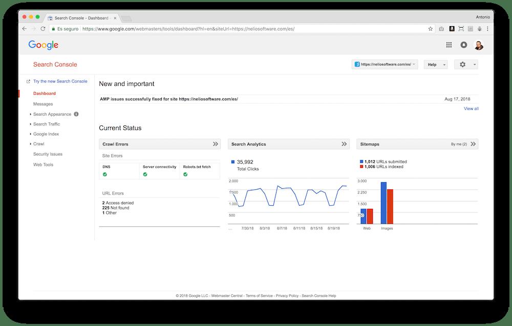 Google Search Console incluye diferentes secciones donde comprobar el estado de tu web desde el punto de vista del buscador.