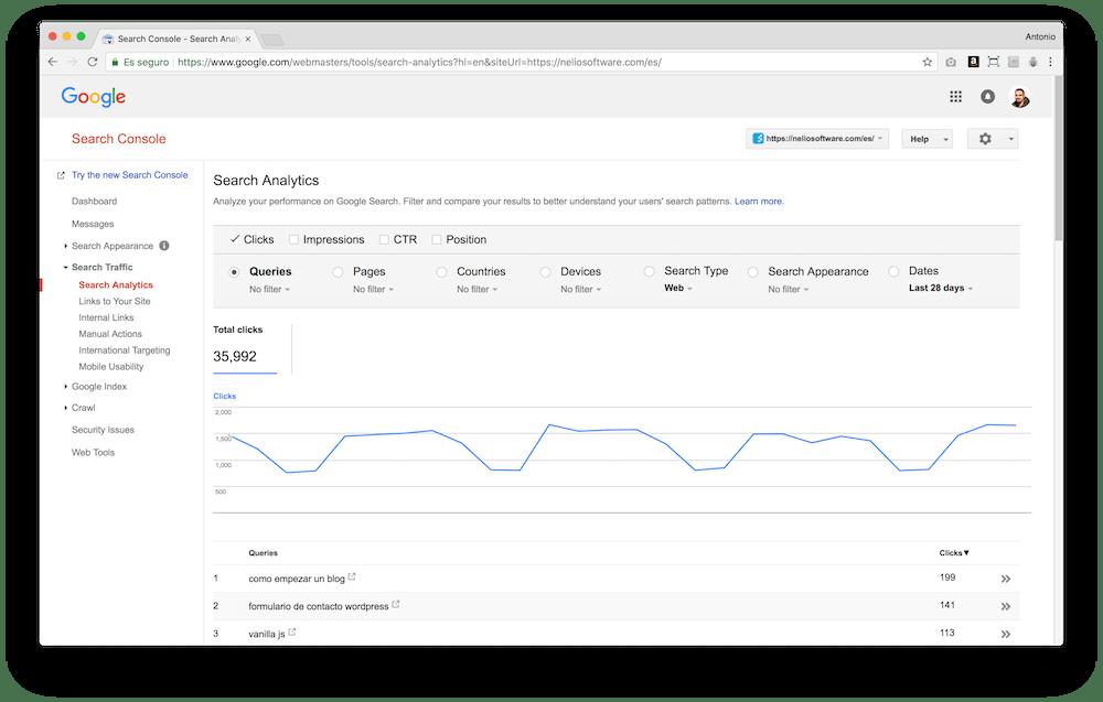 Google Search Console te permite descubrir las palabras clave que la gente usa en Google para llegar a tu web.