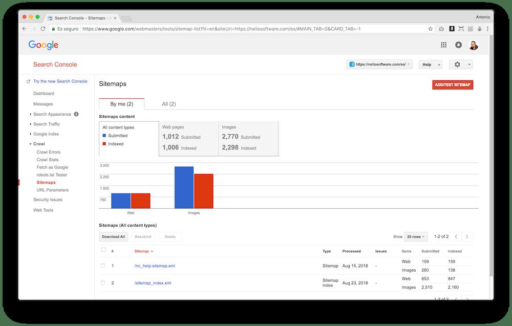 Google Search Console te permite especificar un sitemap de tu web para ayudar a Google a indexarla mejor.