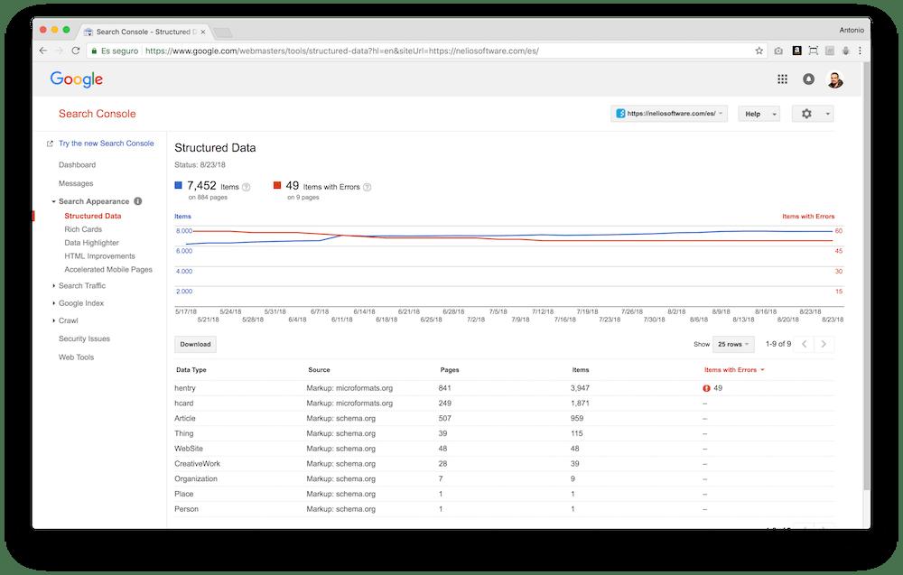 Google Search Console te permite ver cómo interpreta Google los datos estructurados de tu contenido y si hay errores en estos.