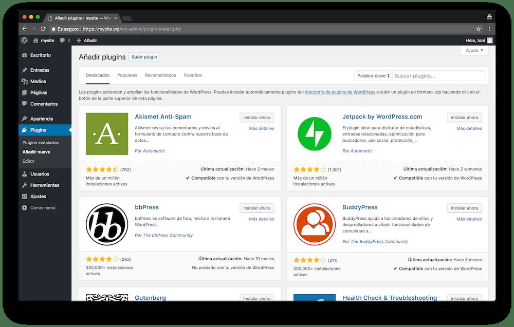 Dentro del menú Plugins de WordPress puedes instalar plugins en tu instalación.