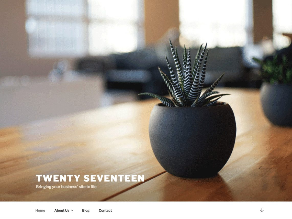 Captura de pantalla del tema Twenty Seventeen de WordPress