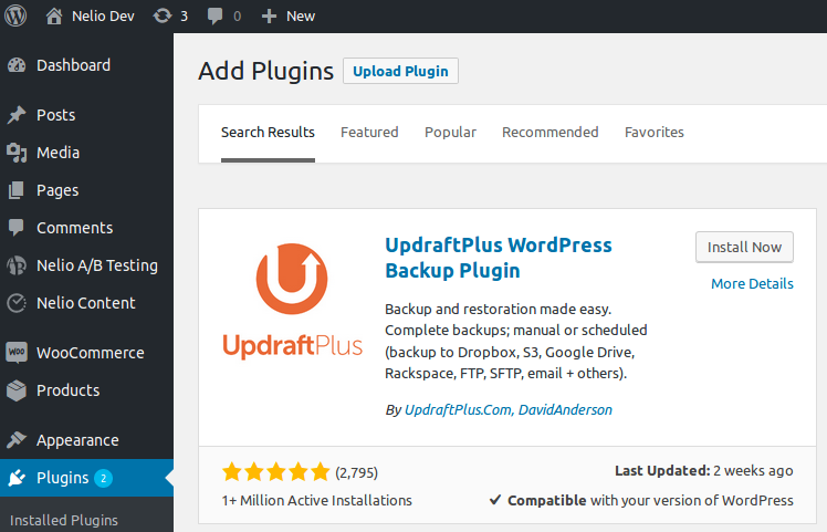 UpdraftPlus en los resultados de búsqueda de nuevos plugins