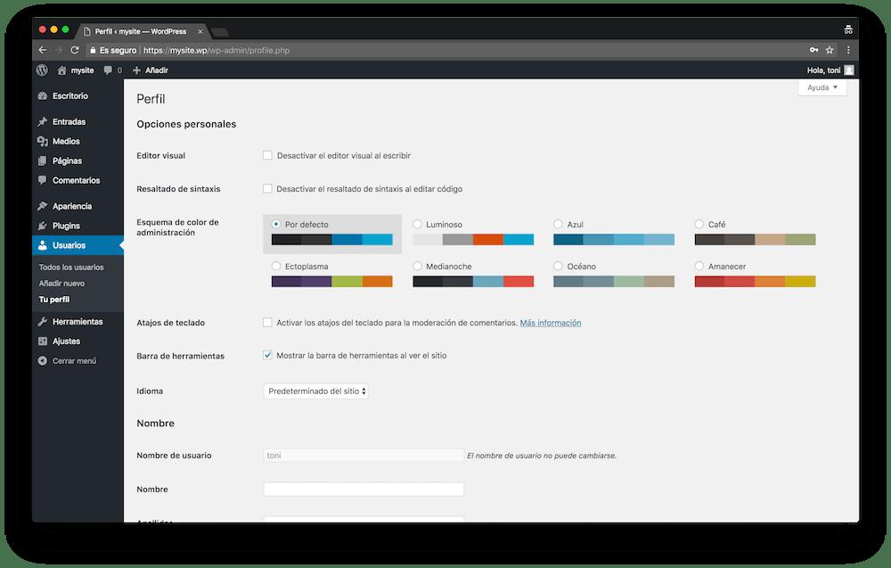 En el menú Usuarios de WordPress puedes ver tu perfil de usuario y hacer cambios.