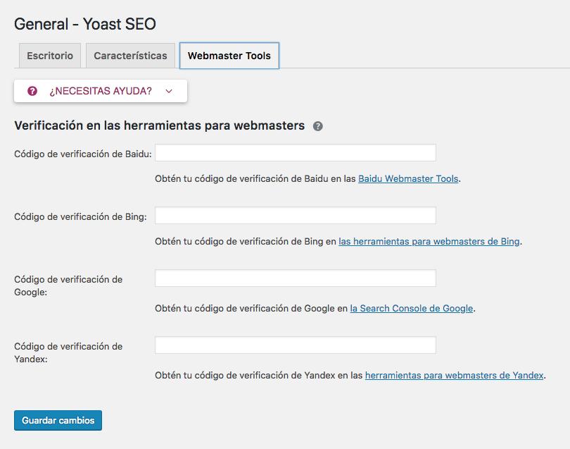 Pestaña de Webmaster Tools de Yoast.