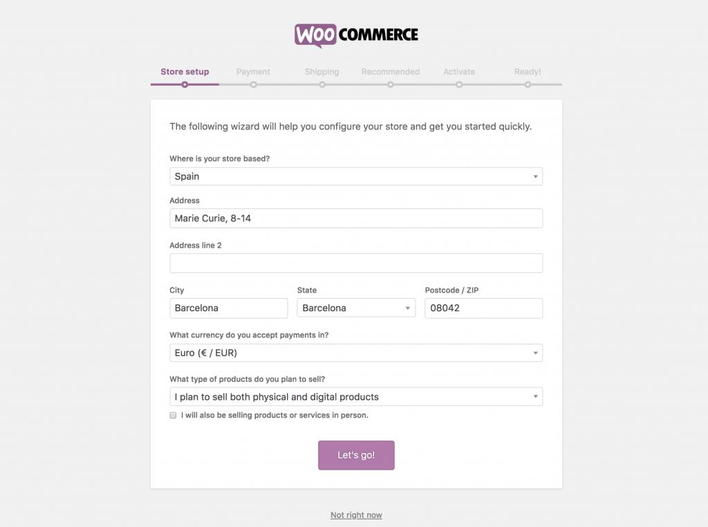 El asistente de WooCommerce te guía para configurar tu tienda online de forma sencilla. En un momento tendrás tu tienda funcionando.
