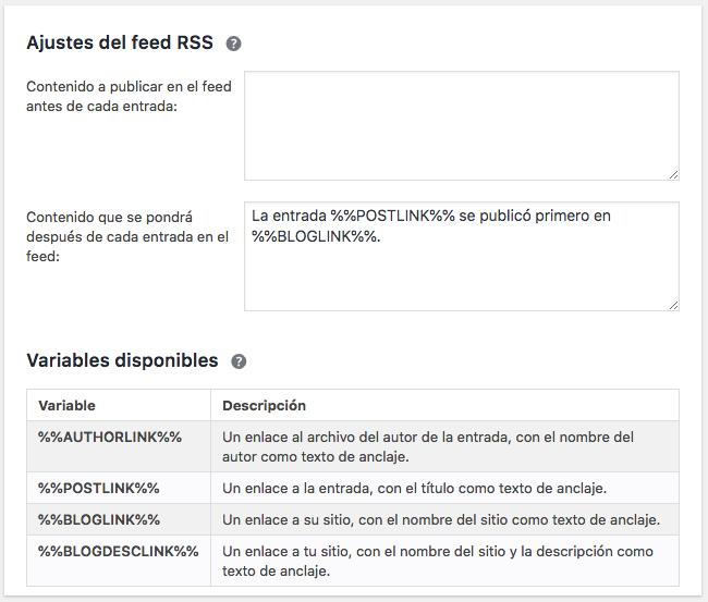 Yoast SEO Ajustes del feed RSS