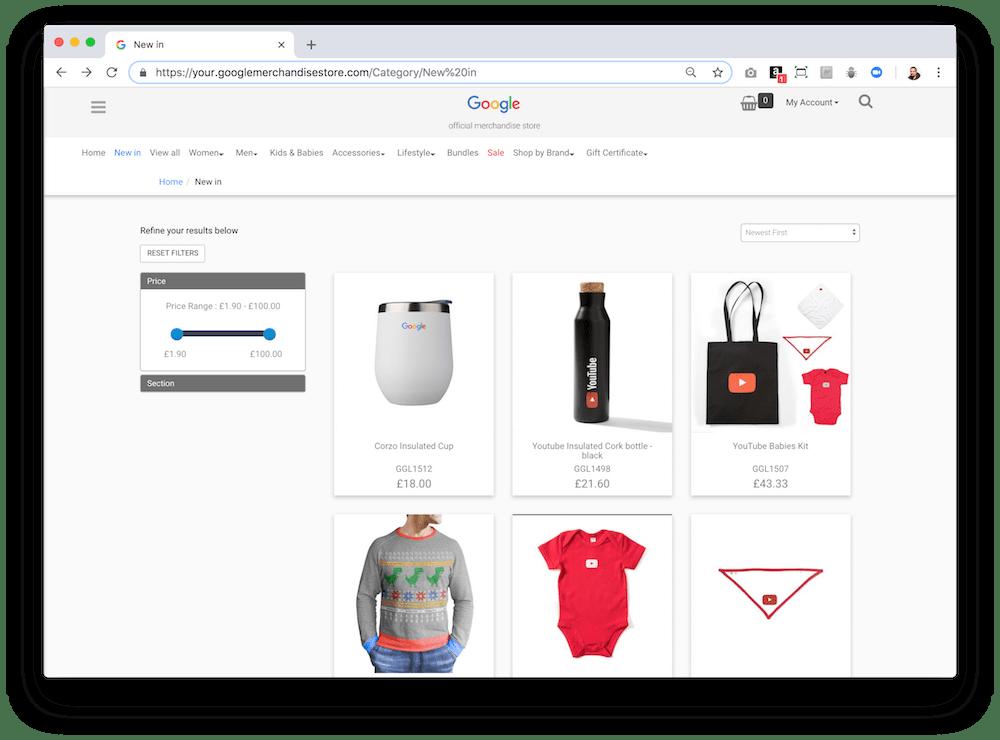 En la tienda de merchandising de Google puedes adquirir un montón de productos.