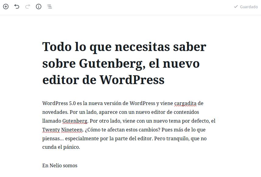 Escribiendo contenido en Gutenberg