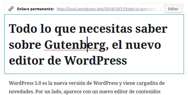 El enlace permanente en Gutenberg