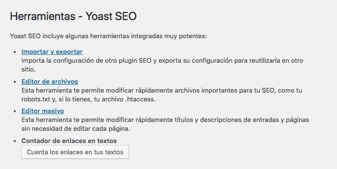 Configuración de herramientas en Yoast SEO.