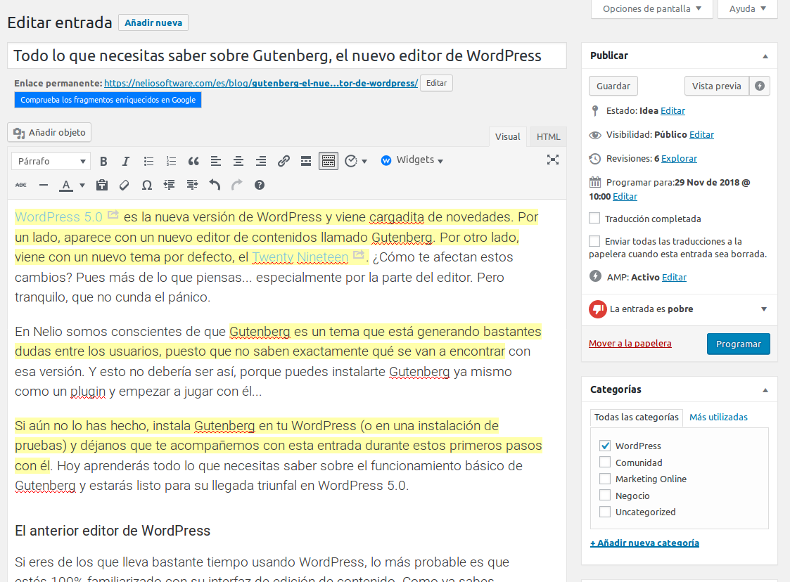 Captura del editor TinyMCE de WordPress