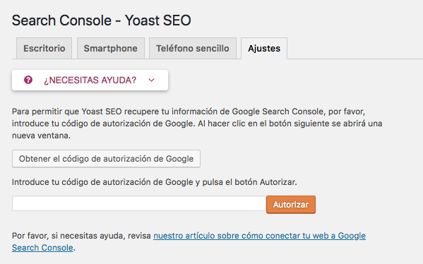Yoast SEO Search Console Ajustes