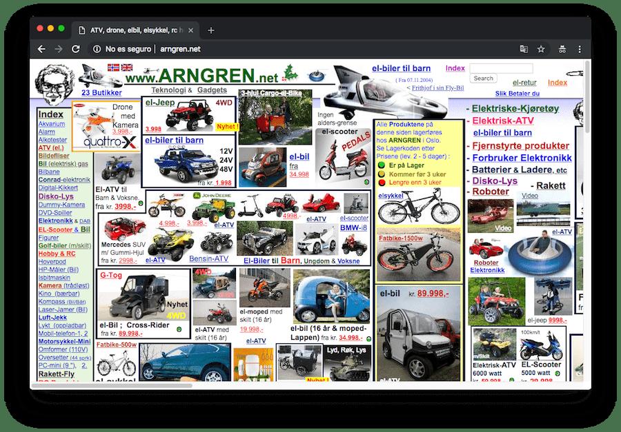 Asegúrate de que tu web cumple unos mínimos de usabilidad. De lo contrario, puedes acabar con una web demasiado compleja para el visitante, como la de esta tienda online.