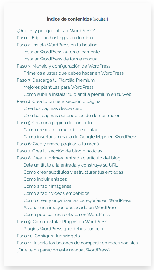 Índice del tutorial de WordPress de Javier Balcázar.