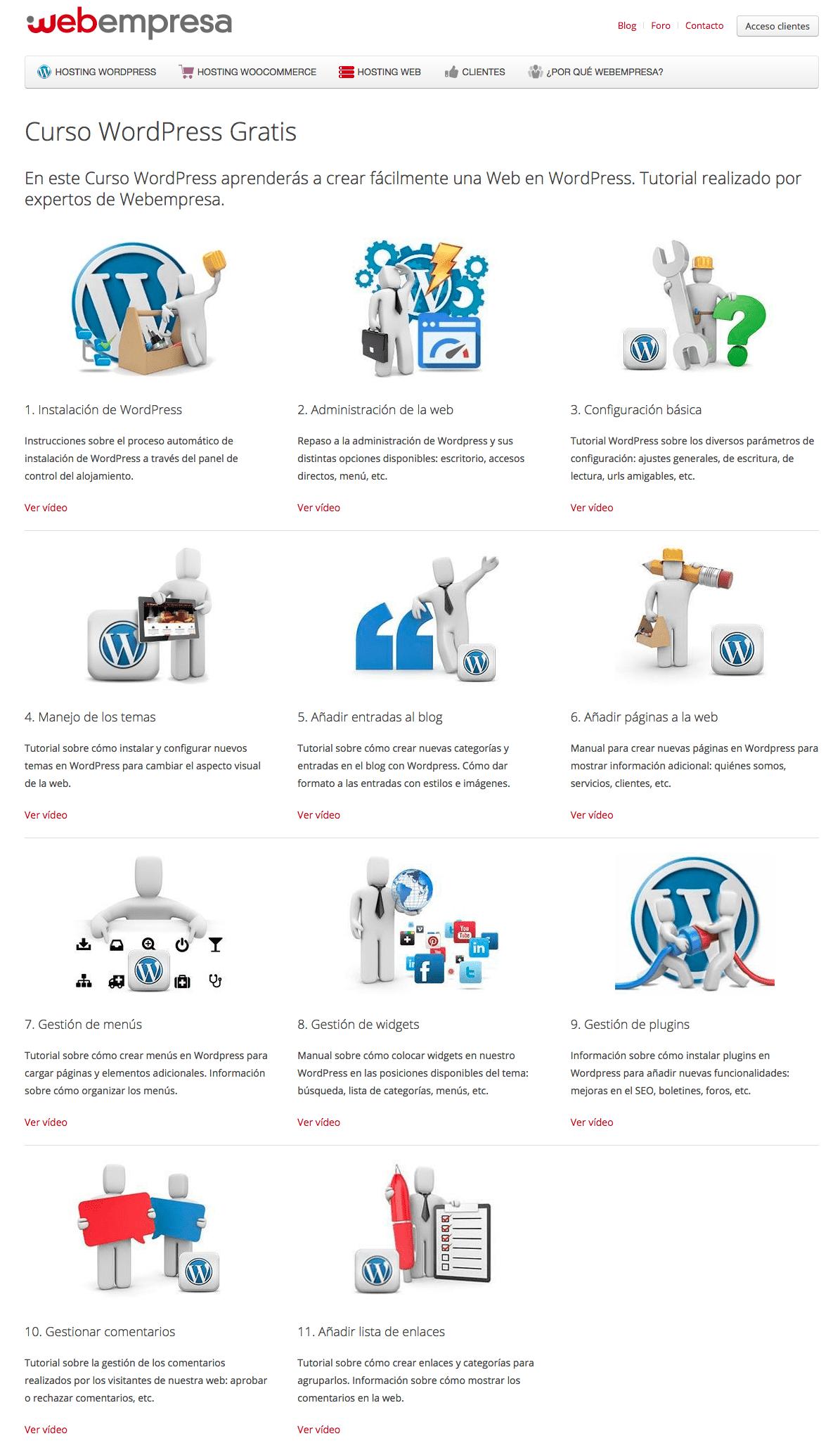 Cursos gratis de WordPress ofrecidos por webempresa.