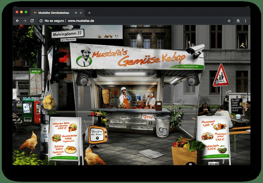 Todavía puedes encontrarte webs como la de este puesto de kebabs en Berlín que funcionan con Flash y son un ejemplo de anti-accesibilidad.