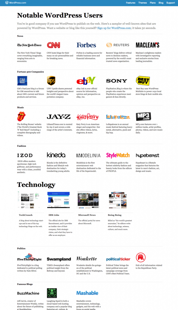 Captura de pantalla de algunos clientes de WordPress.com