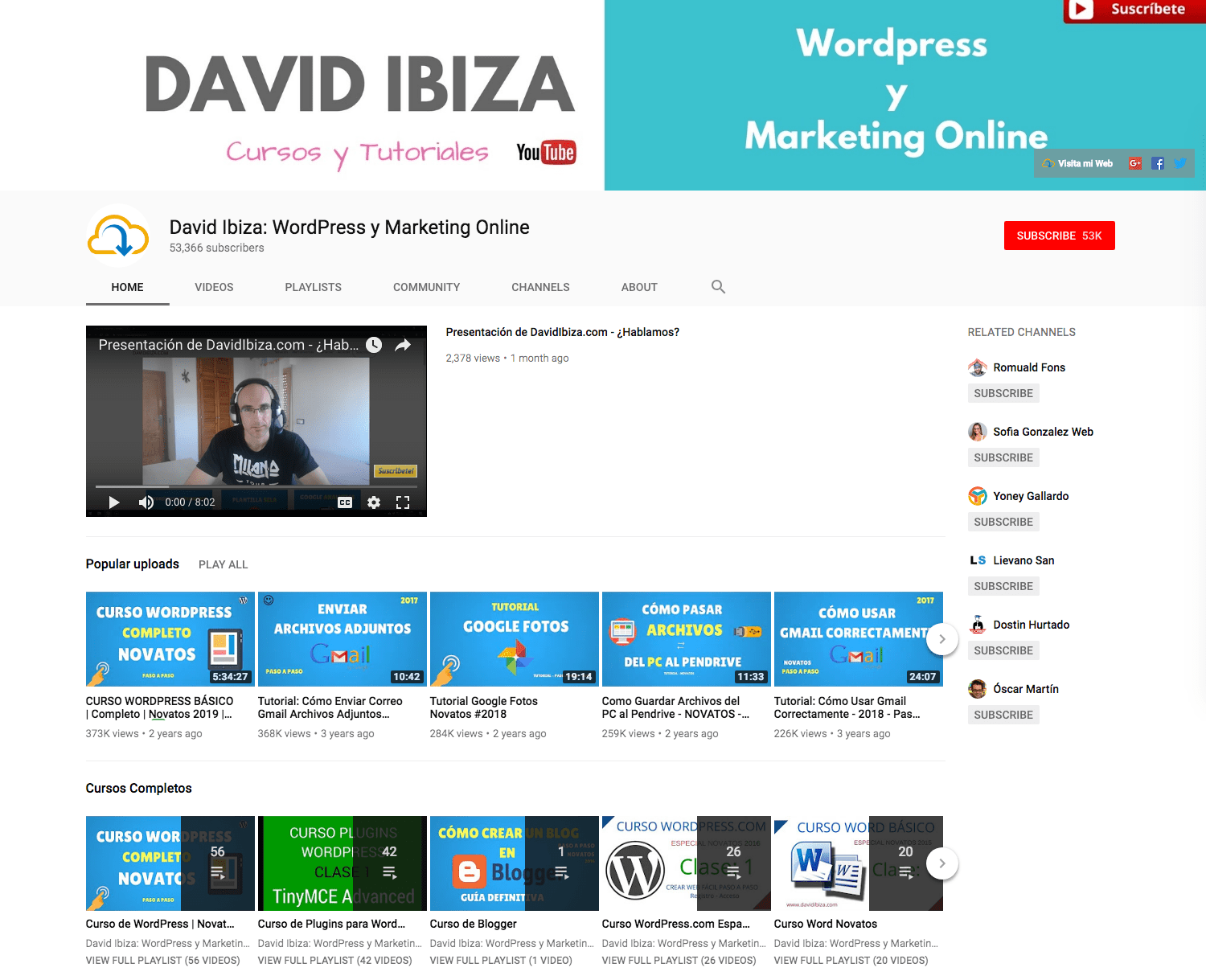 Tutoriales de David Ibiza en Youtube.