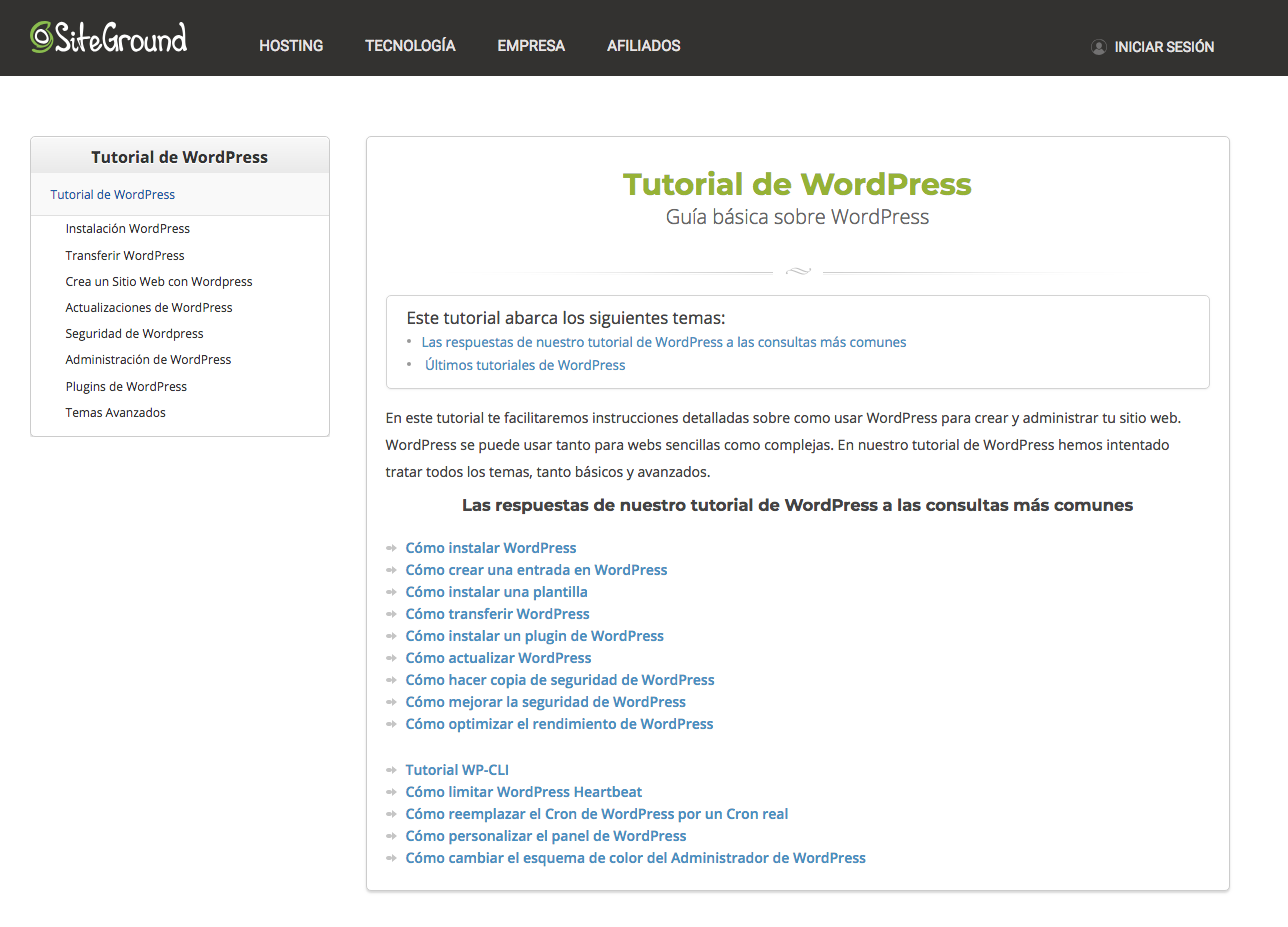 Tutoriales de WordPress de SiteGround.
