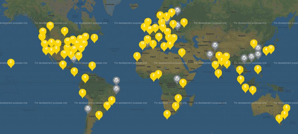 Mapa mostrando las WordCamps realizadas en el años 2018