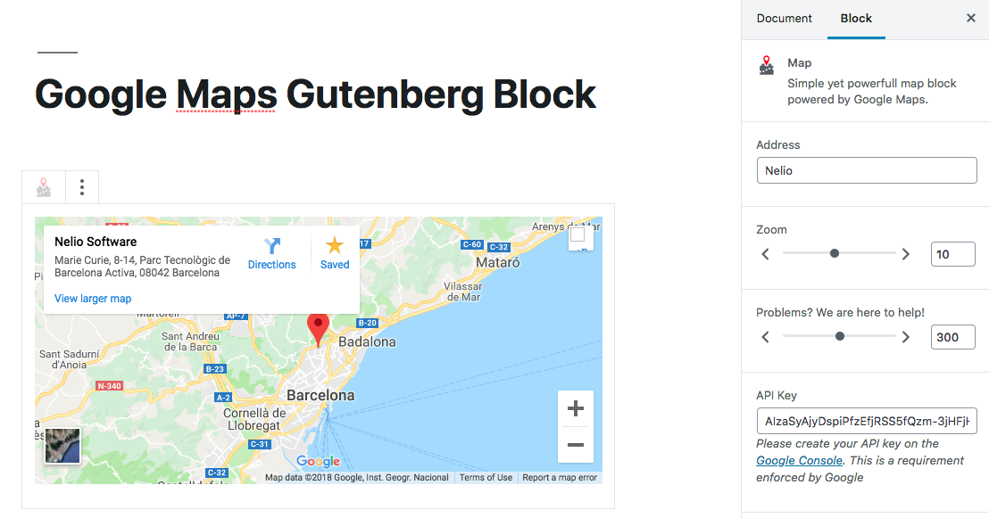 Google Maps Gutenberg Block.
