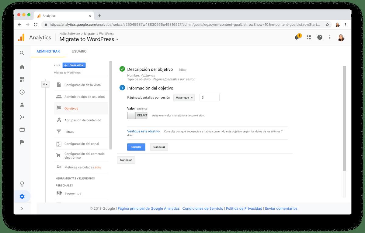 Para medir cuantos visitantes de tu web visitan un número mínimo de páginas, utiliza el objetivo apropiado de Google Analytics.