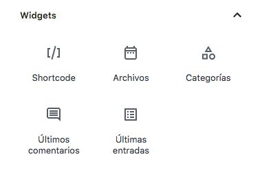 Bloques de widgets de Gutenberg.