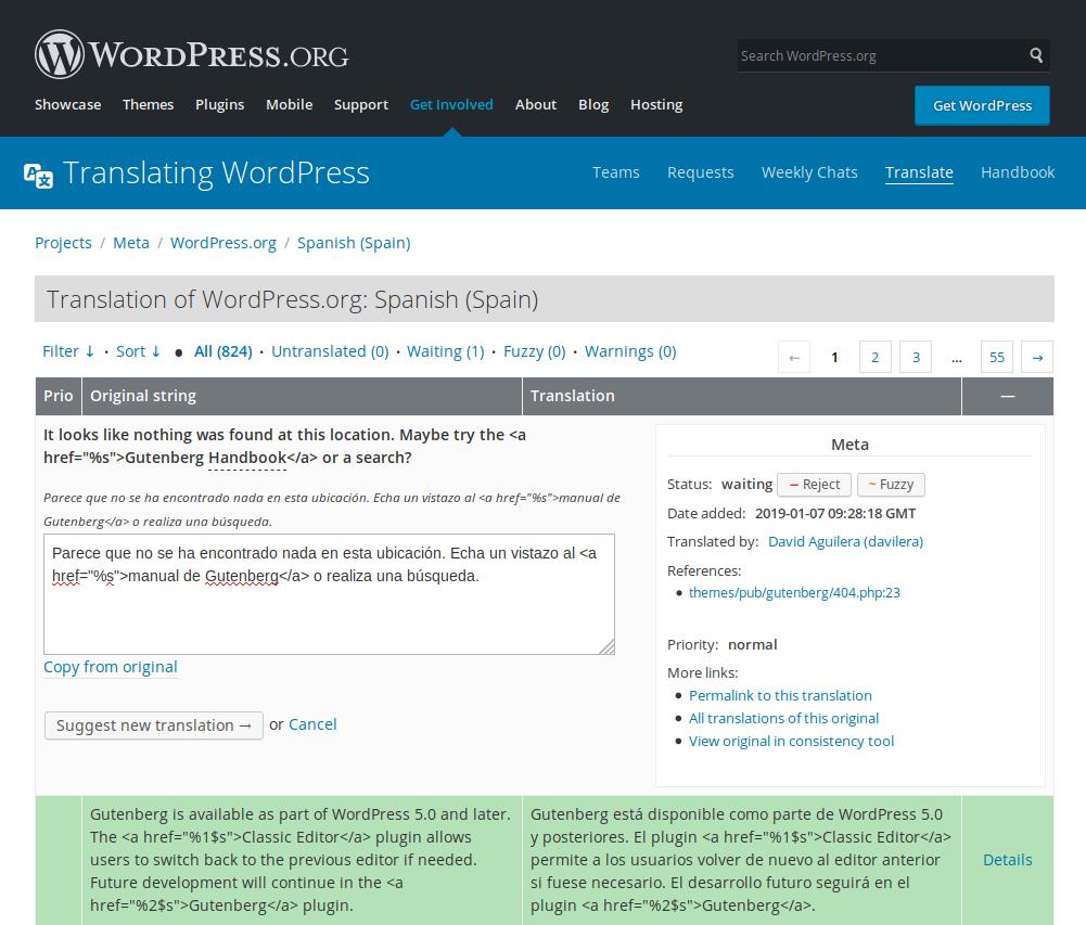Ejemplo de traducción en WordPress