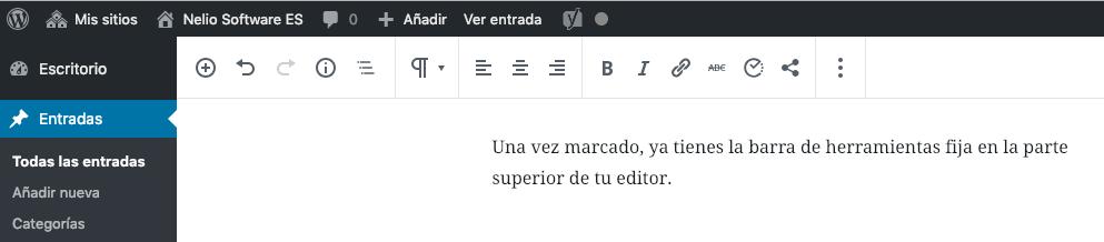 Barra de herramientas fija en la parte superior del editor.