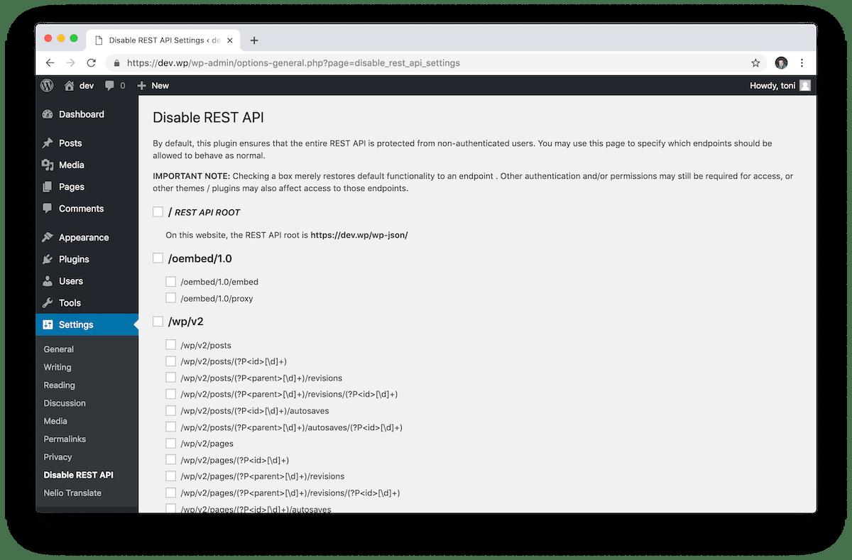 El plugin Disable REST API para WordPress te permite tener un mayor control sobre qué rutas están activas y cuáles no.