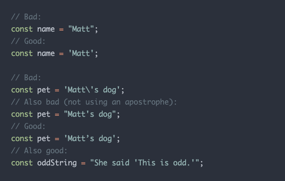 Ejemplo de reglas para escribir strings en JavaScript definidas en la guía de estilo de Gutenberg.