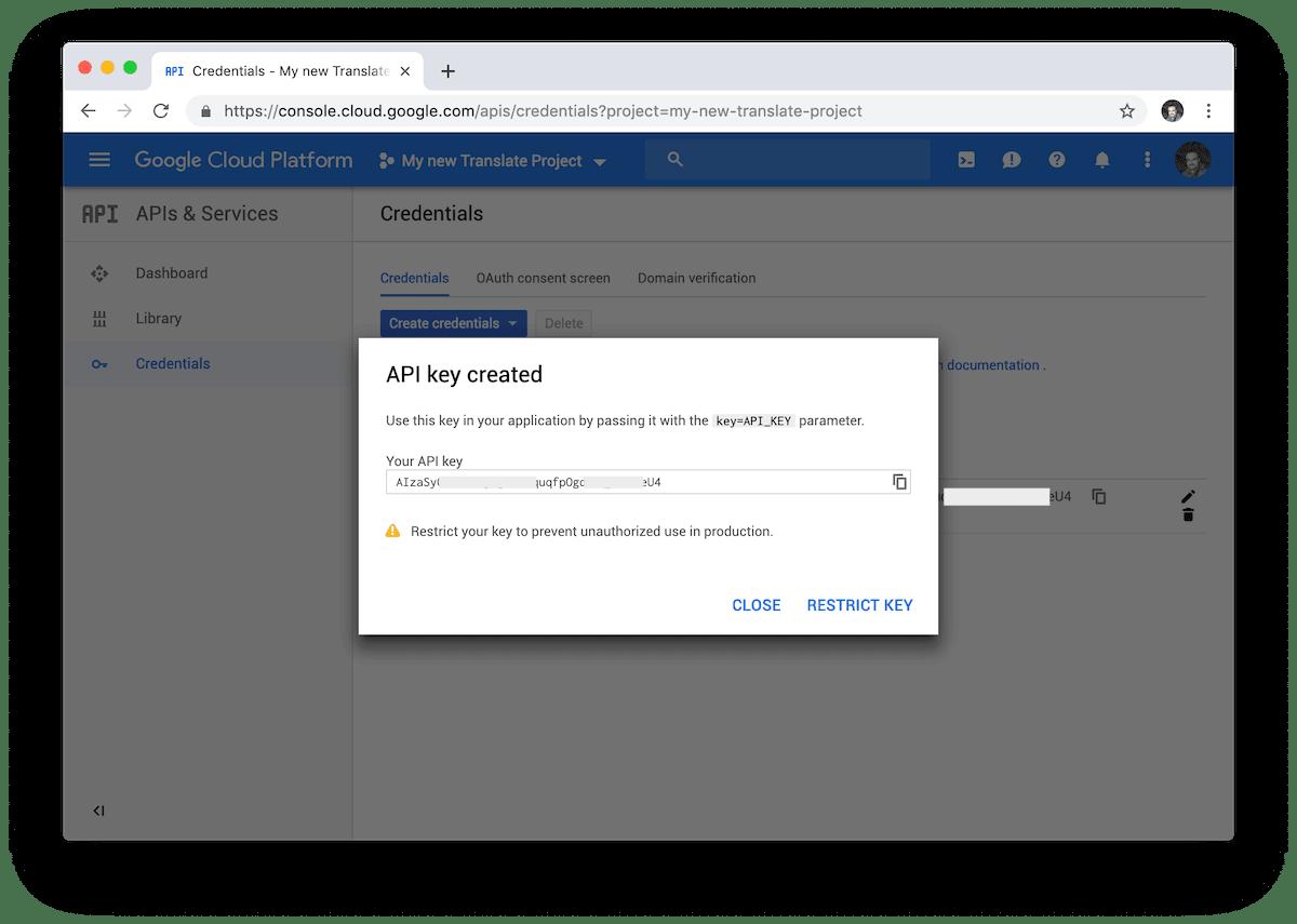 Google Cloud nos proporciona una nueva API Key para poder usar Google Translate con nuestras aplicaciones de terceros.