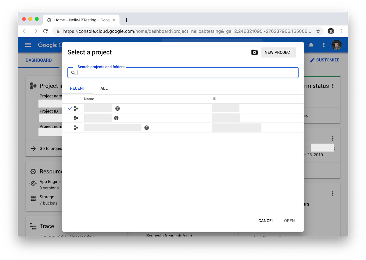 Project selection and creation screen in Google Cloud.