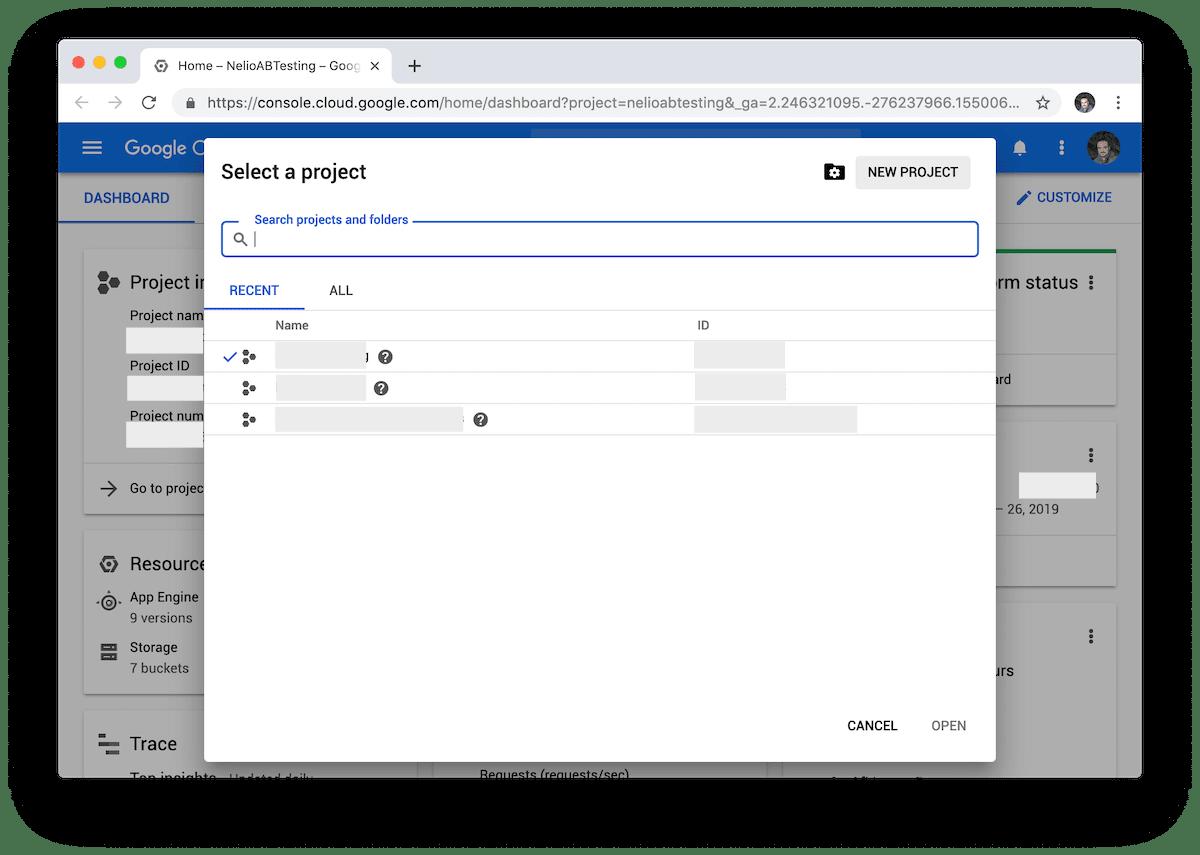 Pantalla de selección y creación de un nuevo proyecto en Google Cloud.